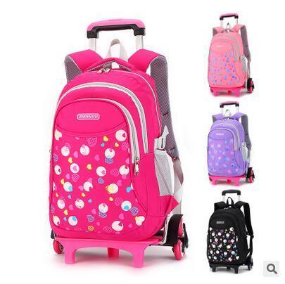 ad10774ae403a Großhandel Roller Rucksack Trolley Schule Rucksäcke Kind Schule Rolling  Rucksack Für Mädchen Kinder Gepäcktasche Kinder Taschen Auf Rädern Von  Memebiu