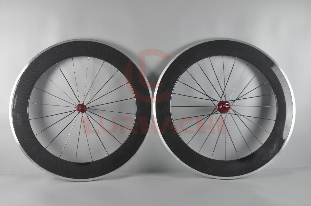 LURHACHI 88mm Carbon Fiber+Alloy Wheels 700C 3K/UD Clincher/Tubular Carbon+Alloy Brake Road Bicycle Wheelset 20/24 Holes