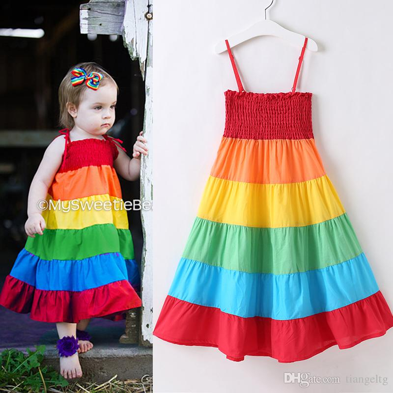 96dfbfa4f4 2019 Baby Girls Rainbow Dresses Elastic Bra Skirts Suspender Colorful  Patchwork Rainbow Beach Dress Summer Toddler Kids Cotton Outfit 18M 7T From  Tiangeltg, ...
