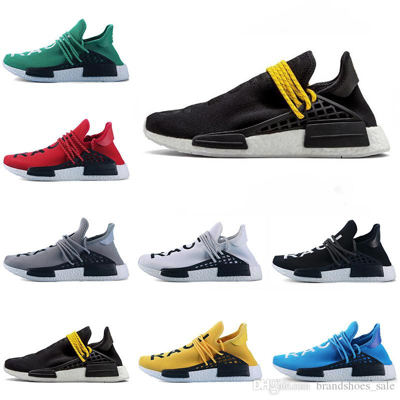 011e437d172ed1 Hot Cheap Human Race Afro Hu Trial Red Pharrell Williams Men Running Shoes Black  Yellow Lace Women Trainers Sports Sneaker Size 5 12 Black Running Shoes ...