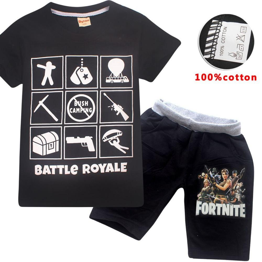 ecca6ffa Summer Children Boys Clothes Girls Fortnite T Shirt Cartoon Cotton ...