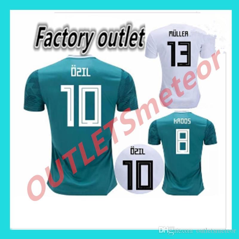 purchase cheap 67ef8 b5e35 2018 MULLER OZIL Germany Soccer Jersey away green world cup DRAXLER KROOS  HUMMELS WERNER SANE KIMMICH alemania national team football shirts