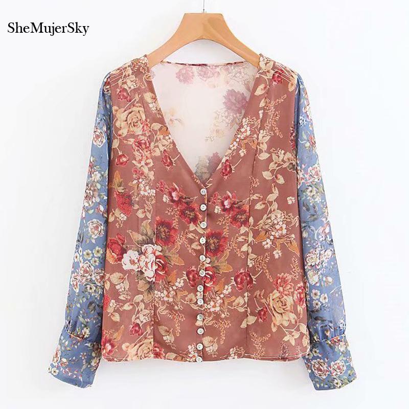 6d626ac9e90c SheMujerSky blusa estampada floral blusa camisa de manga larga empalmada  con cuello en V Tops Blusa camisas mujeres 2018