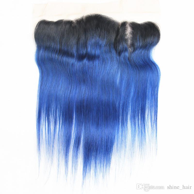 Перуанский синий ломбер человеческих волос пучки с кружевом фронтальной закрытия 13x4 два тона #1B / синий ломбер человеческих волос ткет с полным кружева Frontals