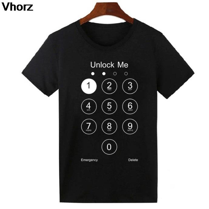 38d12e6fe 2017 Fashion Summer Design Funny Unlock Me T Shirt Phone Screen Top Tee  Shirts Cotton Cool Tshirt Lovely For Men Women Us Size Coolest T Shirts  Online Buy ...