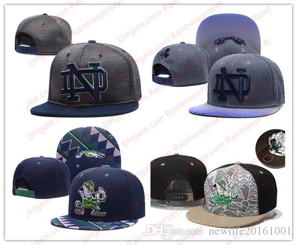 db7994f95a NCAA Notre Dame Fighting Irish Snapback Caps 2018 New College Adjustable  Hats All University Caps Gray Black Navy Blue Green One Sze for All