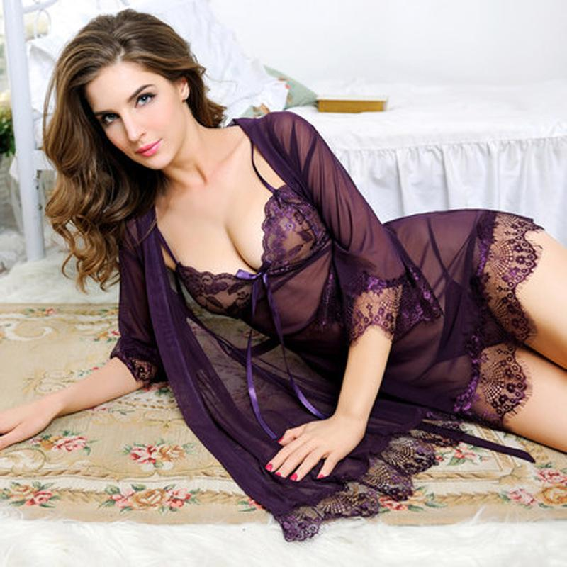 2fcfd3b63425 Compre Lo Nuevo Lencería Sexy Para Mujeres Ropa Interior Sexy Señoras De  Encaje Transparente Lencería Erótica Conjuntamente Vestido De Traje Envío  Gratis ...