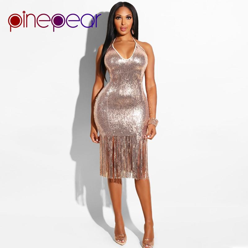 PinePear Glitter Gold Sequin Evening Party Dress 2019 Winter Women Trendy Tassel  Dress Halter Backless Sexy Night Club Dresses Sundress For Sale Party ... 57eef7e07b2e