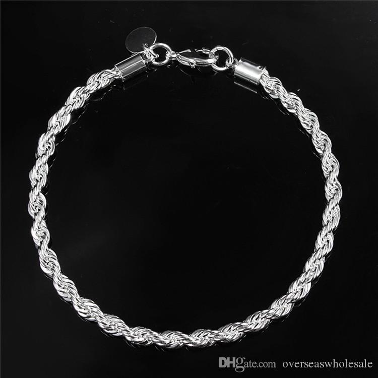 4mm Wide Twisted Chain Silver Plated Bracelets Bangles For Women