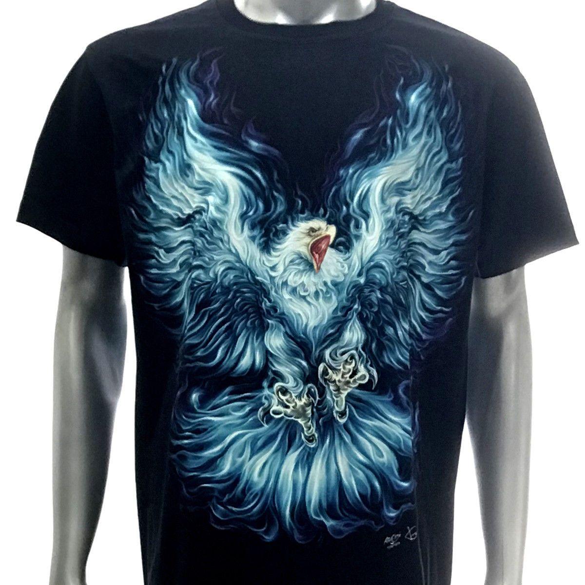 8e667bf17b690 h20 Rock Chang T-shirt Tattoo Glow in Dark HD PRINT Eagle Cool Casual  Cotton Tee