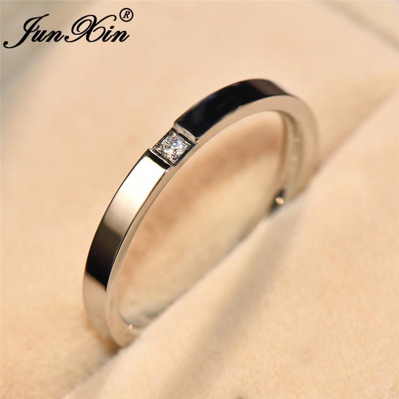 Grosshandel Junxin Edelstahl Dunner Ring Mit Stein Silber Rose Gold