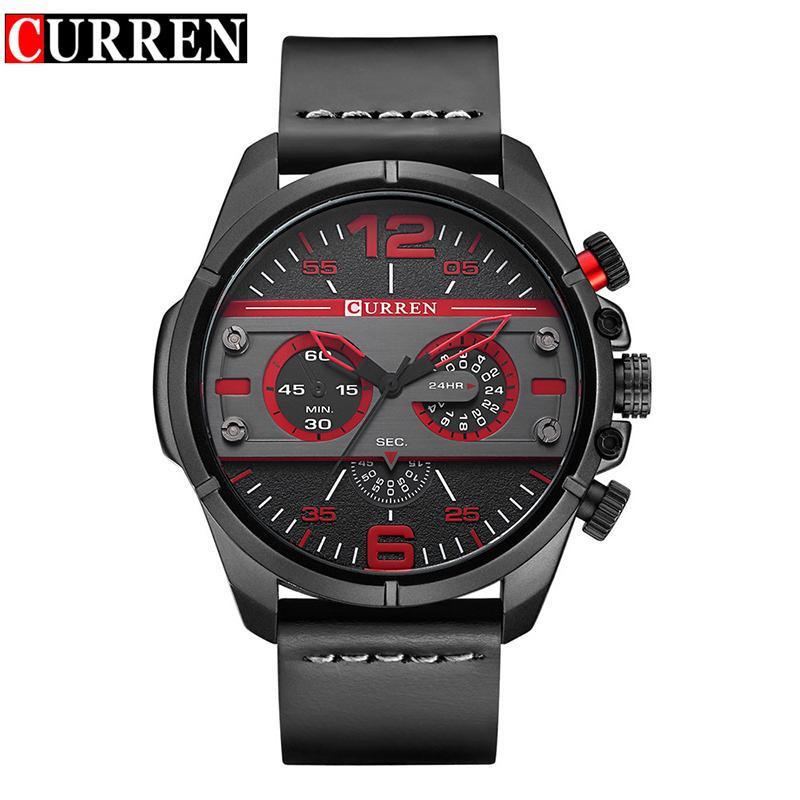 aa2707dbd9d Compre Curren Relógios 2018 Homens Relógio Levou Marca De Luxo Relogio  Masculino Relógio De Pulso De Quartzo Pulseira De Couro 8259 De Lyfgood