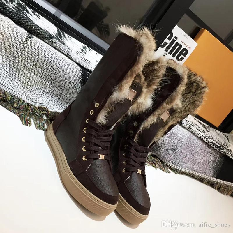 2fb36837588002 Brand Designer Genuine Leather Women Fur Boots Suede Snow Boots 100% Rabbit  Warm Winter Shoes For Fashion Luxury Woman Knee High Boots W1 Boots Sale  Wedge ...