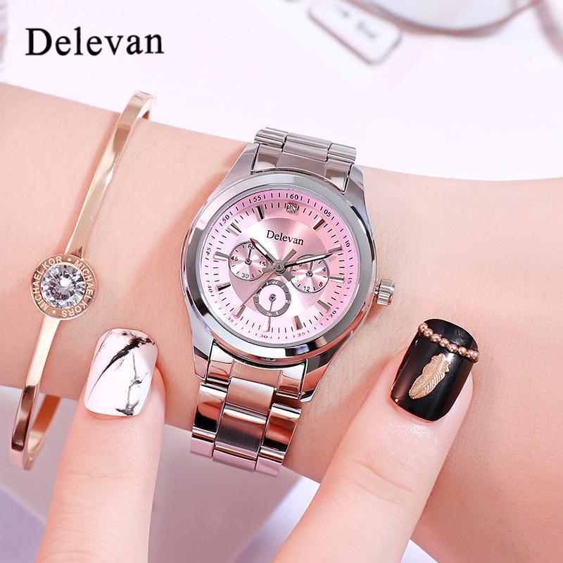 57a3a926e29 Compre Delevan Mulheres Assista Marca Elegante Famoso Luxo Prata Relógios  De Quartzo Senhoras De Aço Antigo Genebra Relógios De Pulso Relogio 2019  Presente ...
