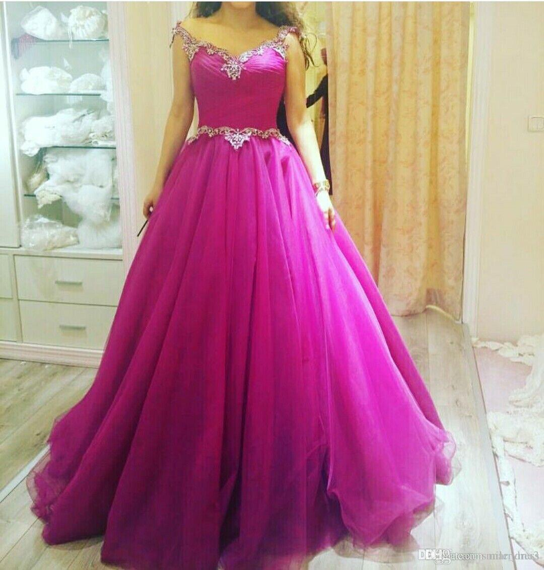 2018 New Fuchsia Ball Gown Prom Dresses Off The Shoulder Organza ...