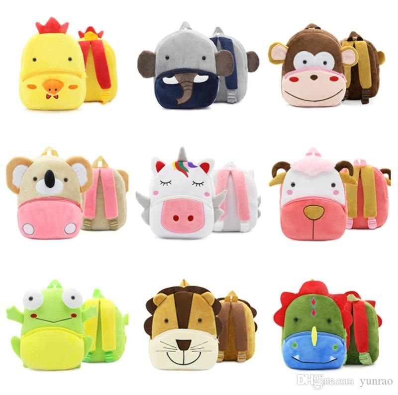 Cartoon Plush Kids Backpacks DHL Free Shipping Stuffed Animals Zoo School Bag Pink Backpack 30 Designs Green bags Boy Pink For Girl 2 3 4 5T