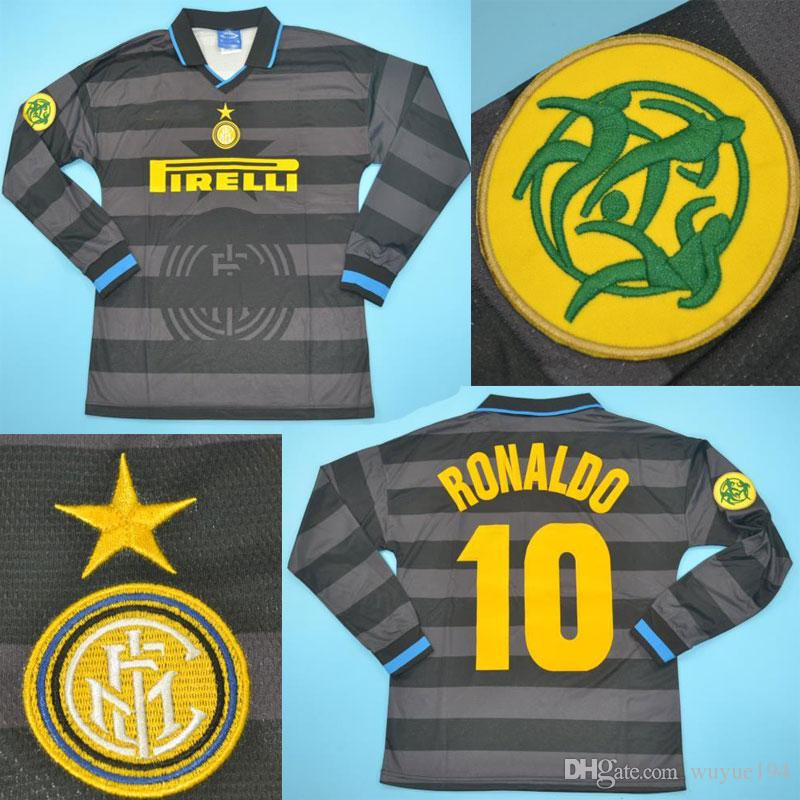 best website 3b773 e4a09 1997-198 uefa cup final inter long sleeves retro jerseys Ronaldo Simone  Djorkaeff Sosa Bergomi vantage Shirts Maillot de Foot Camiseta