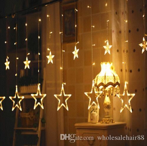 Christmas Lights 138LEDS AC 220V EU/AU/US Romantic Fairy Star LED Curtain String Lighting For Holiday Wedding Garland Party Decoration