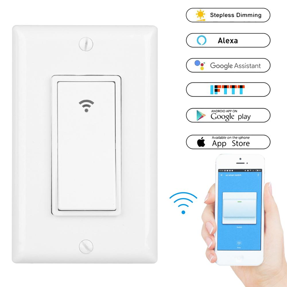 Smart Light Switch >> Wifi Smart Light Switch Us Plug 2000w Wireless Remote Control In Wall Switch For Fan Lights Compatible With Alexa Google