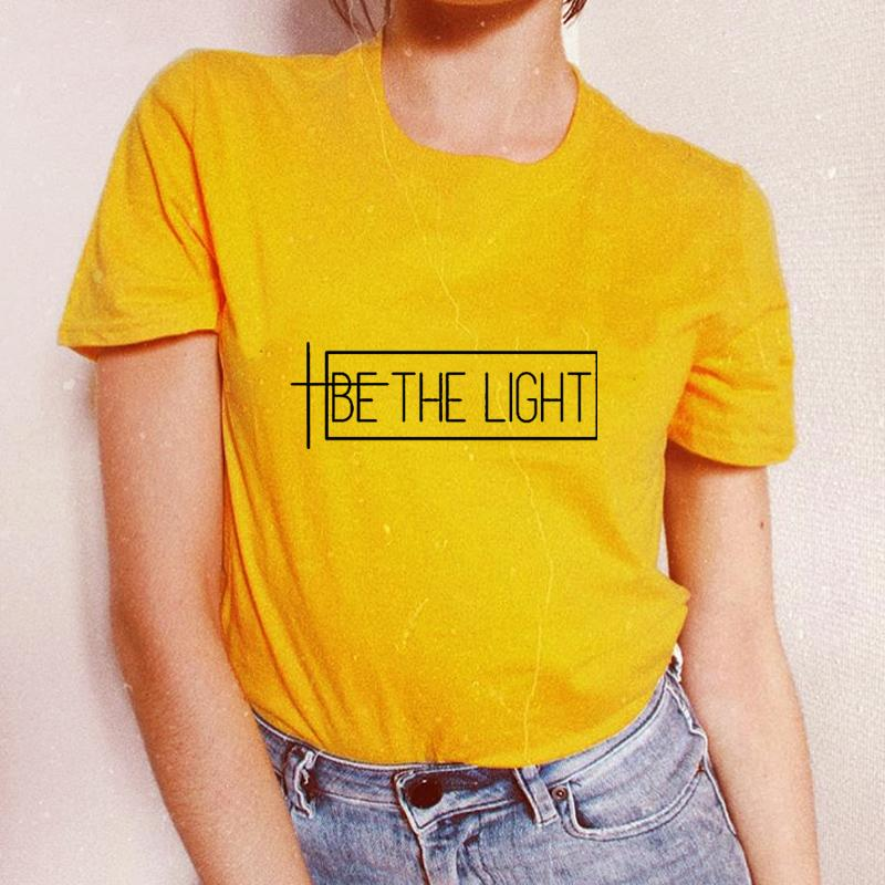 836bb4dd5 Women's Tee Be The Light T-shirt Christian Graphic Gift Women Faith Tshirts  Girls Cotton Top Fashion Tshirt Tumblr Hipster Female Yellow Tee