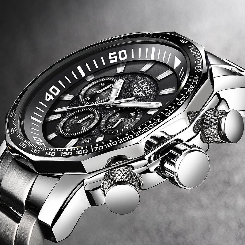 3eff6ada947 Compre Relogio Masculino Homens Relógios LIGE Top Marca De Luxo De Negócios  Relógio De Quartzo Homens Grande Mostrador De Moda À Prova D  Água Esporte  ...