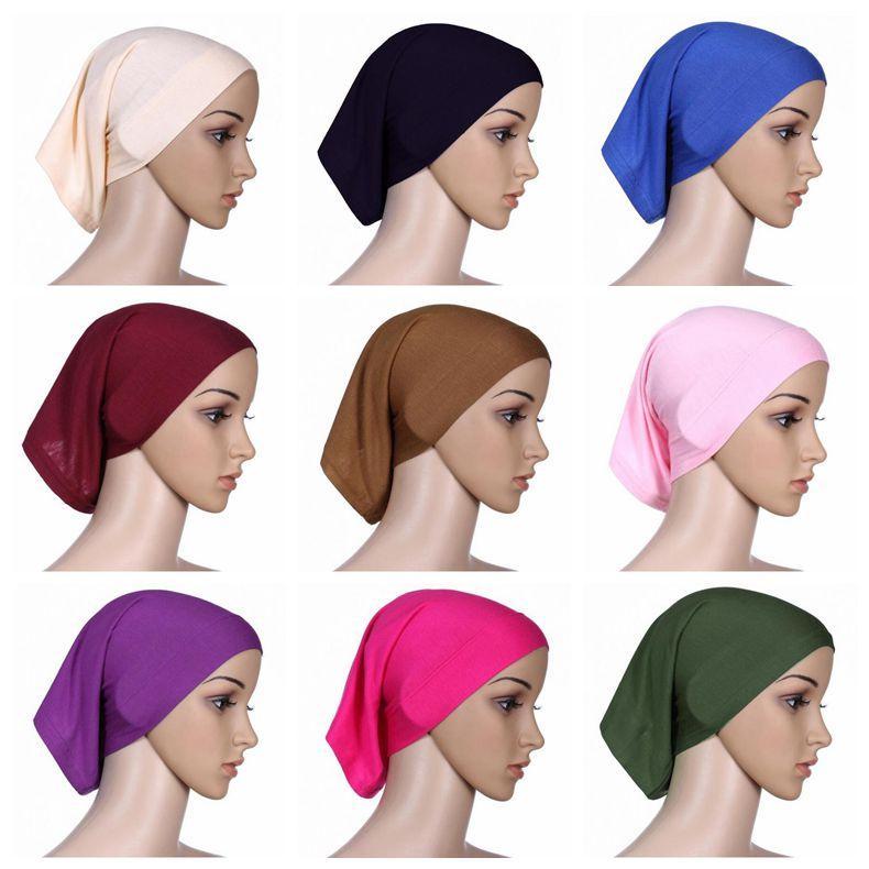 30cm 24cm Islamic Muslim Women S Head Scarf Mercerized Cotton Underscarf  Cover Headwear Bonnet Plain Caps Inner Hijabs CCA9582 Straw Hat Baseball  Cap From ... d433f417825