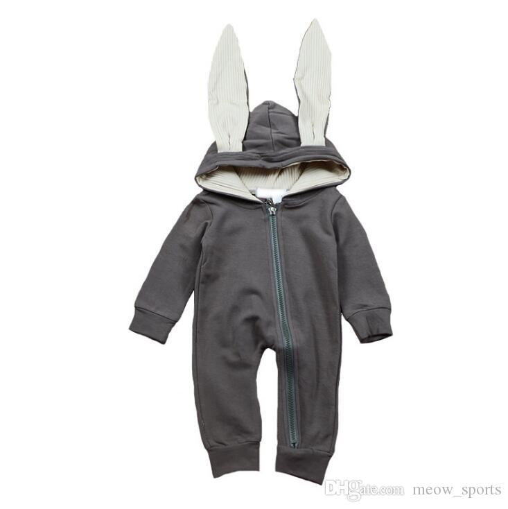 f9b18f025 2019 Cute Rabbit Ear Hooded Baby Rompers For Babies Boys Girls ...