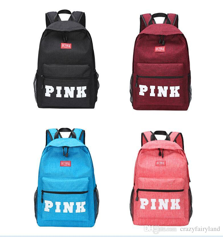43bf2f9abe82 Pink Backpack Women Men School Bags for Teenagers Letters Large ...