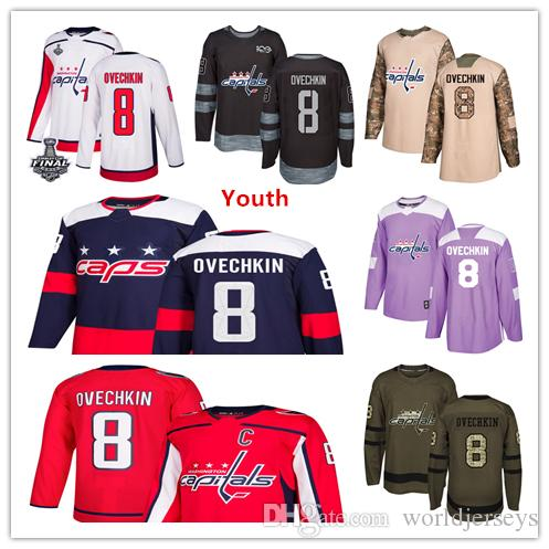 4604d7ada ... player jersey  2018 youth kids child washington capitals 8 alex ovechkin  hockey jerseys white red navy blue 100th