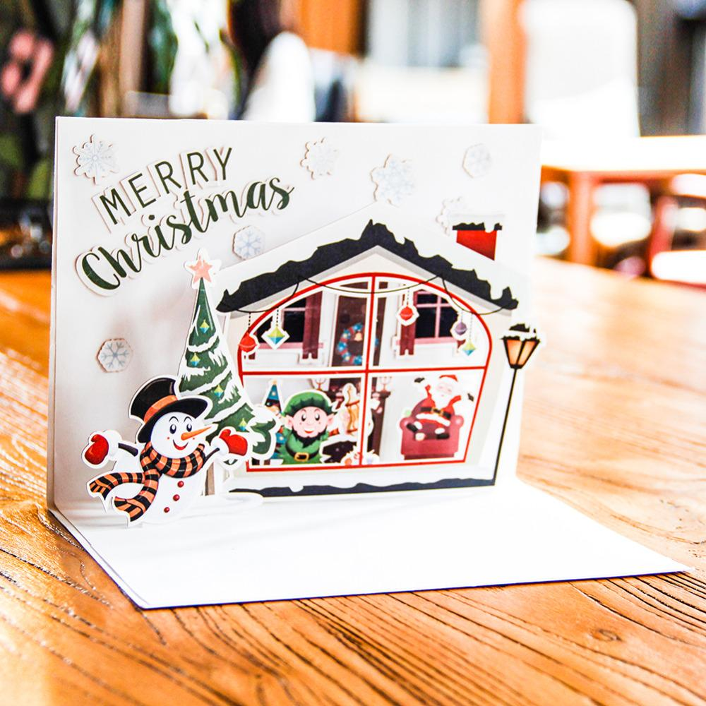 Diy Merry Christmas Greeting Card Semi Finished Card With Making