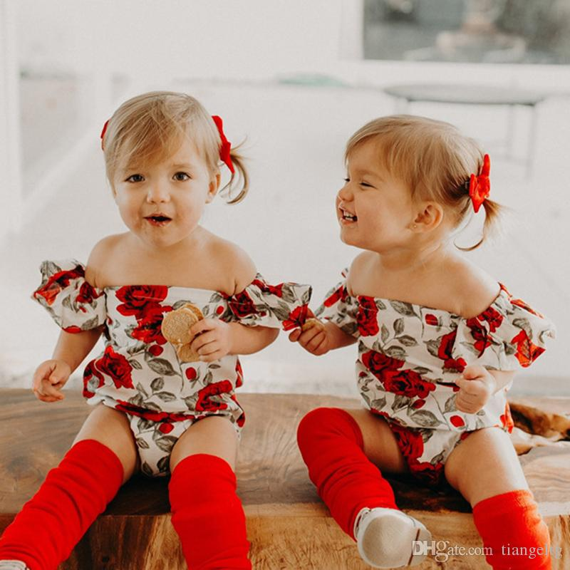 8daeb86f91fc Girls Off Shoulder Romper Floral Jumpsuit for Baby Girls 1-3T Rose Rompers  Breathable Summer Clothes Outfit Baby Jumpsuits Baby Rompers Girls  Jumpsuits ...