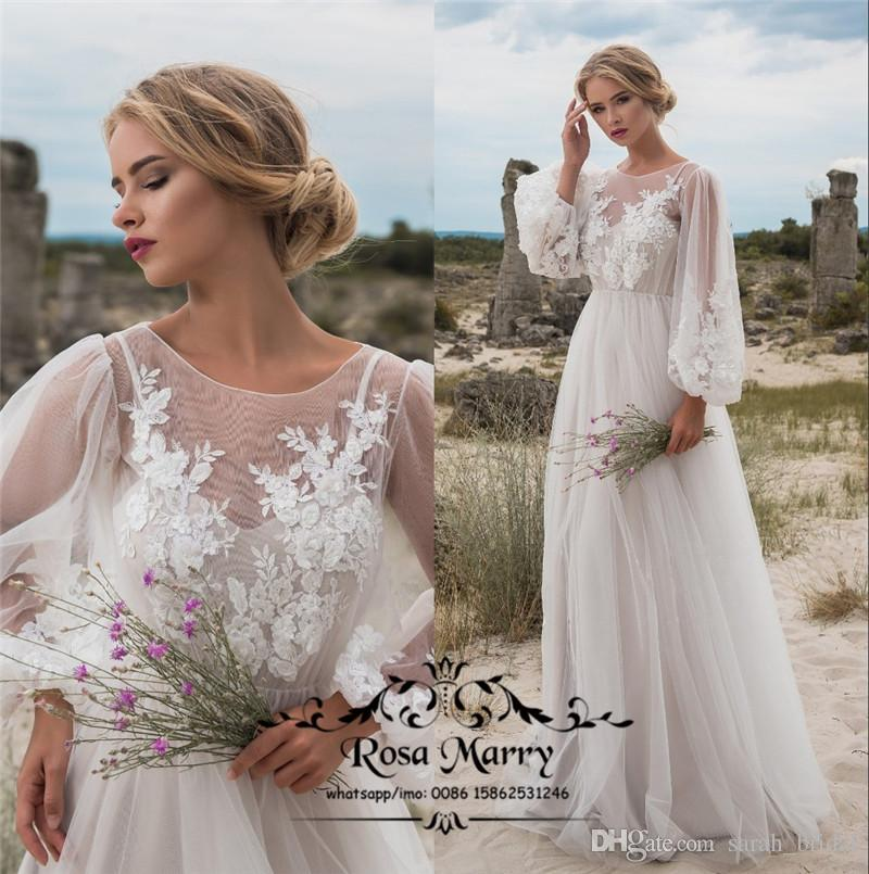 Plus Size Boho Beach Country Wedding Dresses 2020 Puff Long Sleeves Vintage  Lace 3D Floral Cheap Bohemian Greek Hippie Wedding Bridal Gowns