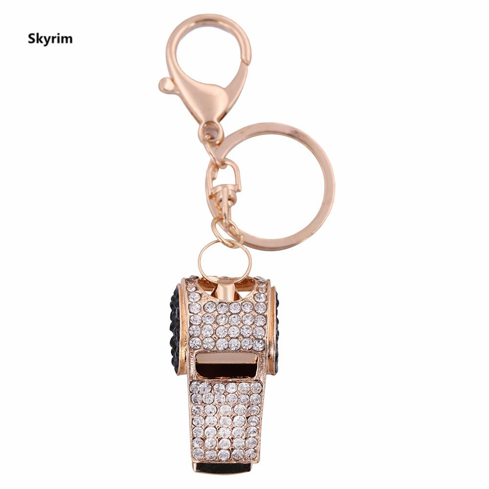 Skyrim Whistle Fashion Crystal Big key chain Metal Leather Pendant Jewelry  Safety customise keychain For Women Or Man Gift
