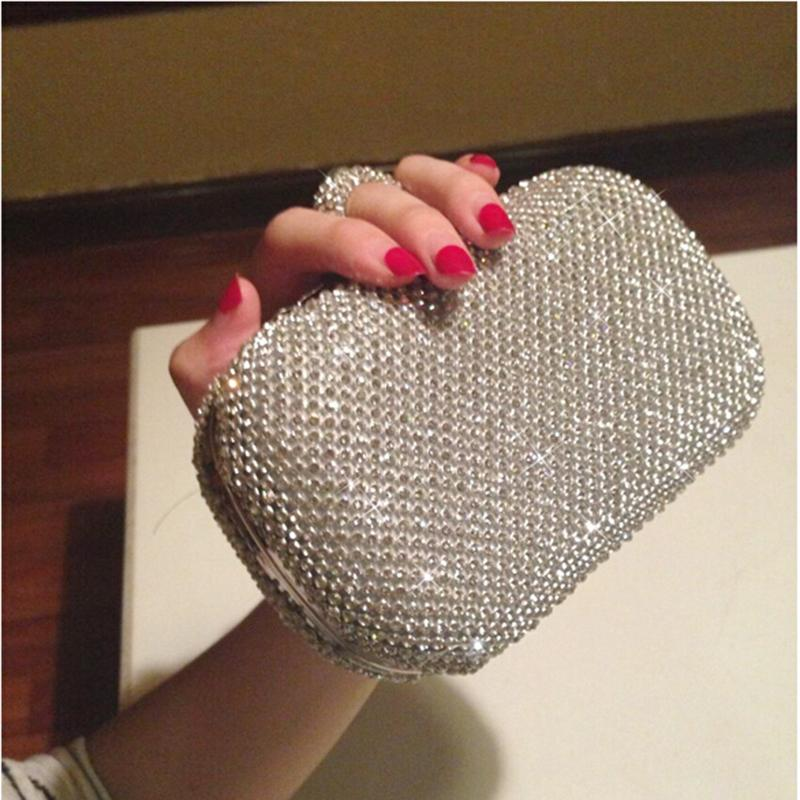 Super Luxury Handmade Popular Women Handbag Full Diamond Finger Ring Evening Bags Clutch Purse/Bling Bag