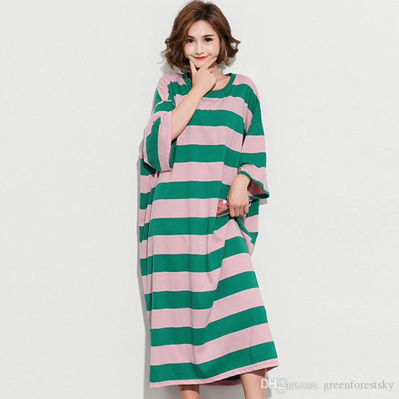 4e2163cee18 DIMANAF Women Sundress Clothing Summer Dress Plus Size Cotton Femme Lady  Vestidos Loose Green Striped Casual Long Basic Dresses Summer Dress Women  Black And ...