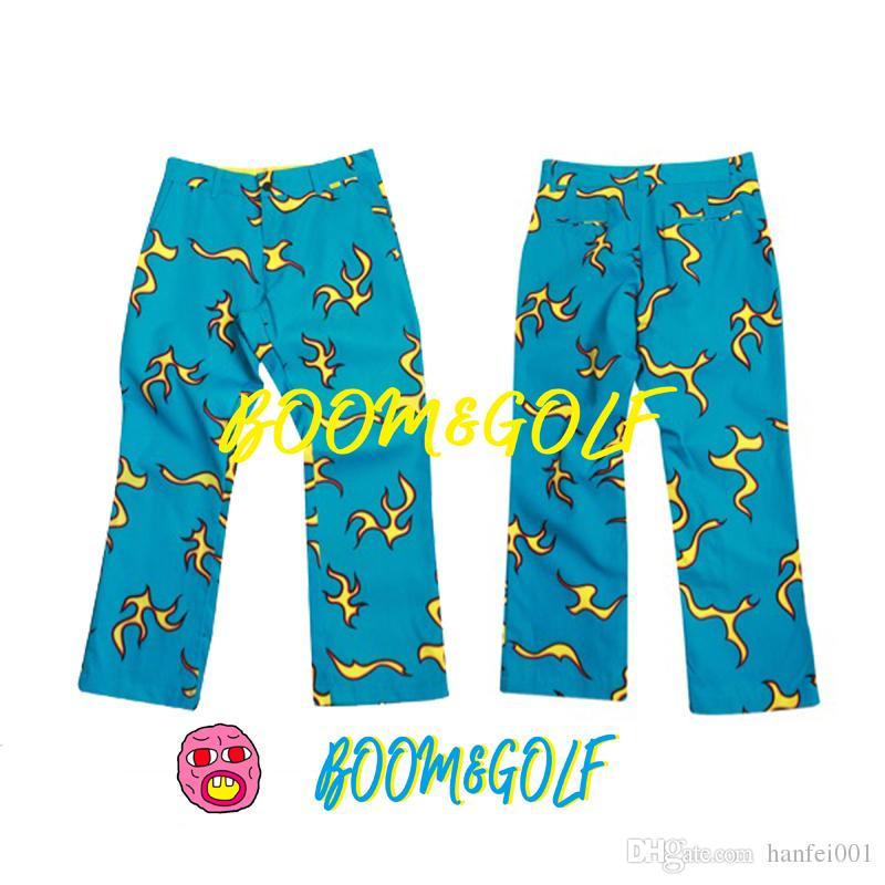 a4ed1cca4cb6 2019 18ss Golf Wang BLUE FIRE Pants Street Pants Casual Loose Causal  Trousers Men Women Straight Pants HFLSKZ088 From Ffcheer