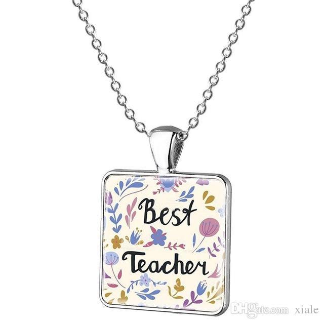 wholesale fashion best teacher letter charm necklace glass gem necklace ladies clothes accessories pendant teachers day gift fq477 long necklaces fine