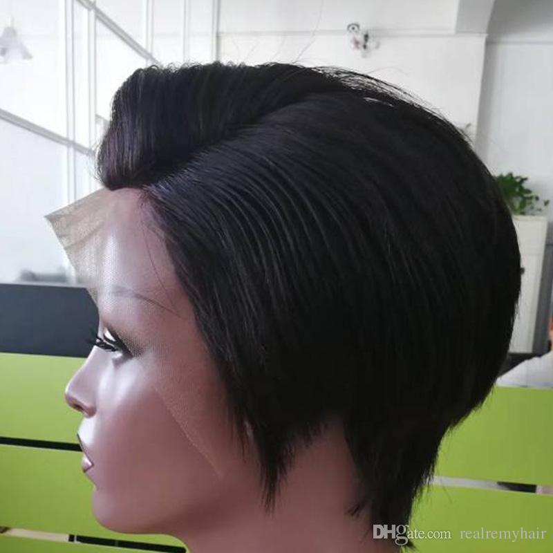 Gerade Spitze Front Menschenhaar Perucken Gunstige Pixie Cut Short Mit Baby Haar Afrikanische Haare Schneiden Stil Brasilianische Damen Perucke