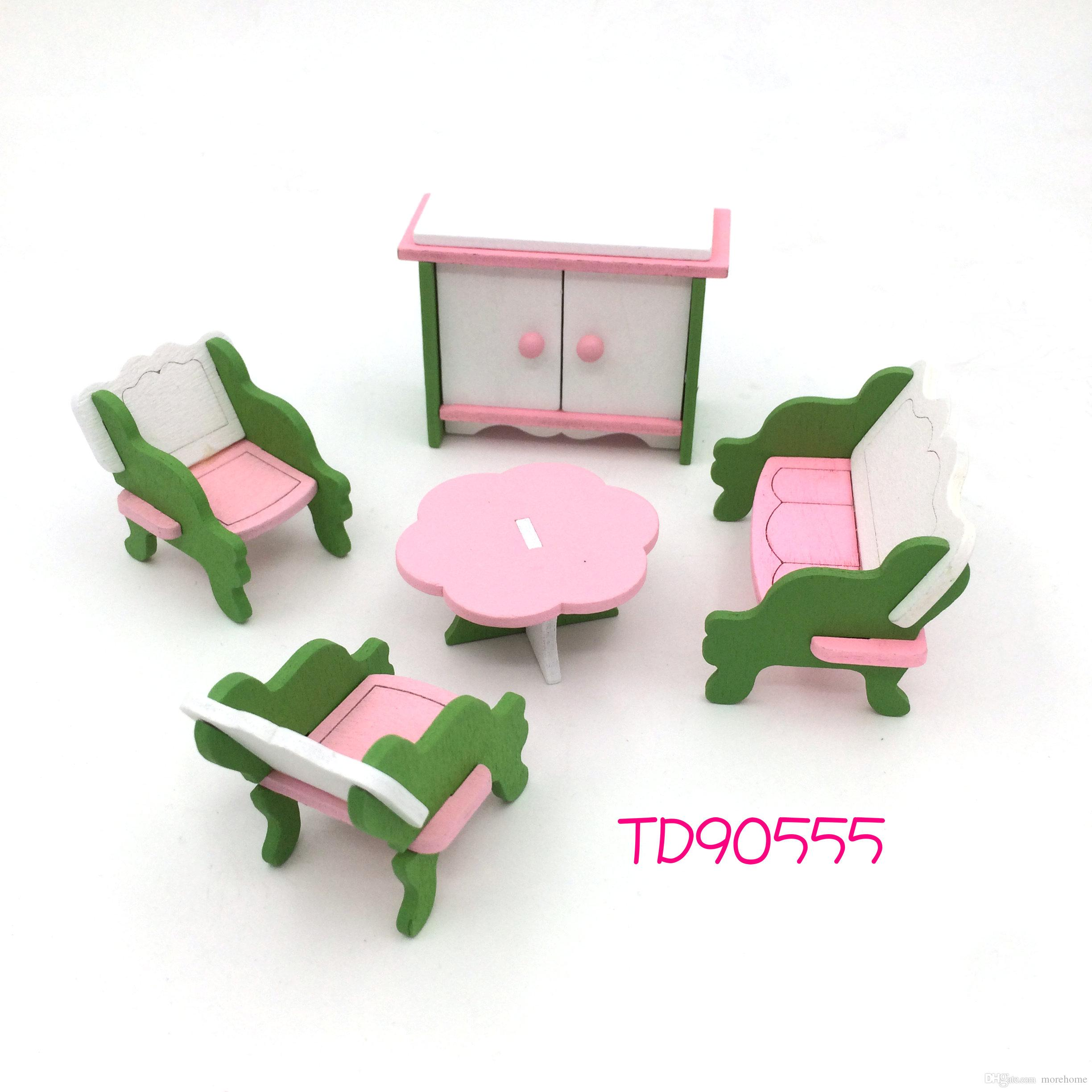 Dollhouse Miniature House Children\'s Toy Toy Wooden Block Kit ...