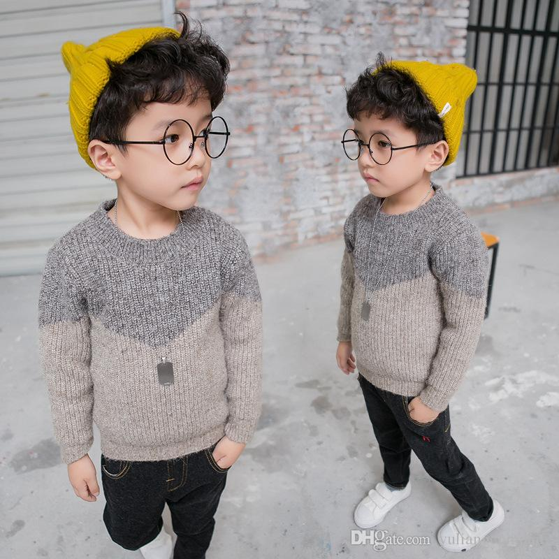 2017 Autumn New Korean Style Fashion Baby Boy Wool Blended Knitting  Underwear Sweater Casual Pullover Kids Clothing Baby Sweater Designs  Knitted Sweaters ... bd681605a2