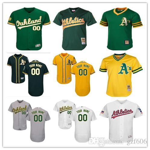a4e1923e7 custom Men s women youth Majestic Oakland Athletics Jersey Personalized  Name and Number Green Grey White Kids Girls Baseball Jerseys