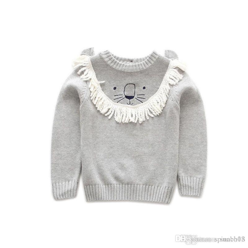 New Autumn Winter Baby Girls Boys Sweater Kids Cartoon Lion Knitted Pullovers Jumper Tops Boy Knitwear Child Cotton Sweaters 4204
