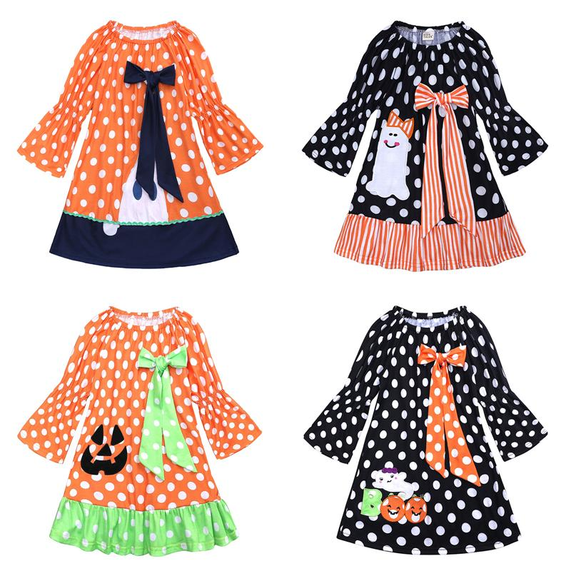 f17aa11ac Girl Dress Dot Printed Cute Bowknot Autumn Flare Sleeve Baby Dress ...