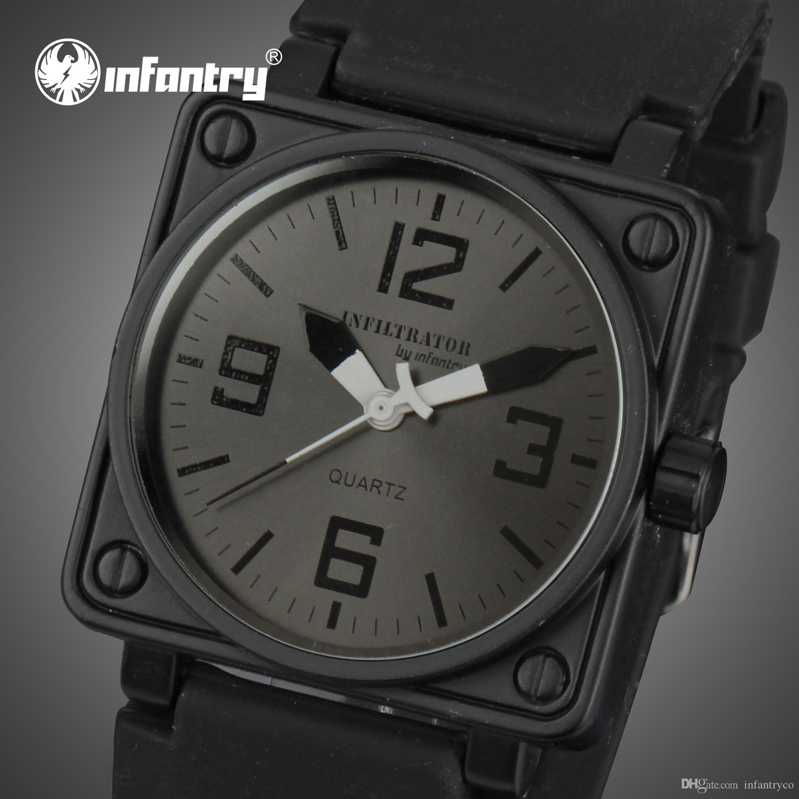 8a0399adbca Compre INFANTARIA Famoso Relógio De Marca Relógio Esportivo Dos Homens  Militares Relógios De Borracha Preta Exército Designer De Moda Casual  Relógio De ...