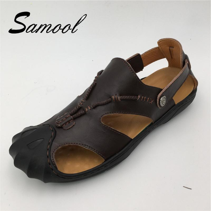 fe1d3bbf3f95 Samool Hademade Spring Summer Men S Leather Beach Shoes Classic Toe Cap  Cover Mens Sandals Soft Sole Outdoor Beach Shoes GX5 Wedge Sandals Jesus  Sandals ...