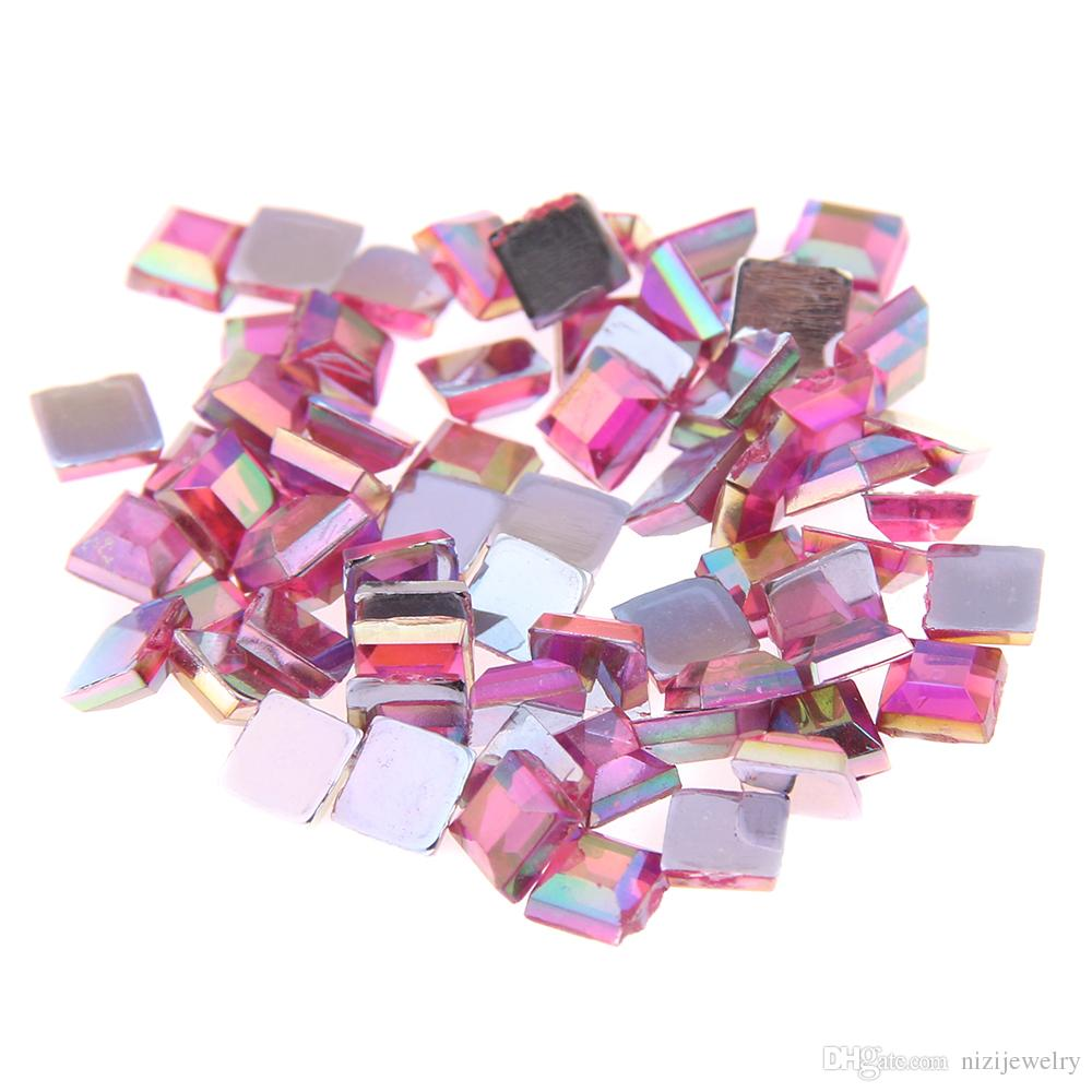 b31915b6d3 Light pink AB color Acrylic Rhinestones FlatBack Square many sizes For  Crafts Scrapbooking DIY Clothes Nail Art Decoration