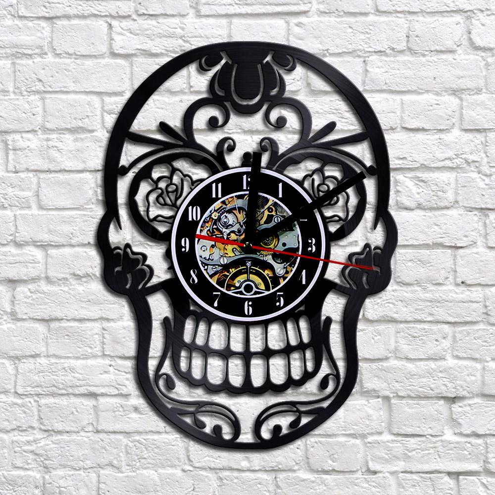 office wall clocks large. 12 Mexican Skull Vinyl Wall Clock Personalized Lp Record Time Creative Shadow Art Home Decor Large Number Clocks Office