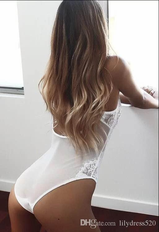 Wholesale jumpsuit sexy lady Bustiers 2018 One Piece Lace Sexy Lingerie Latex Hollow out Sleepwear G-string Black White Pajamas bodysuit