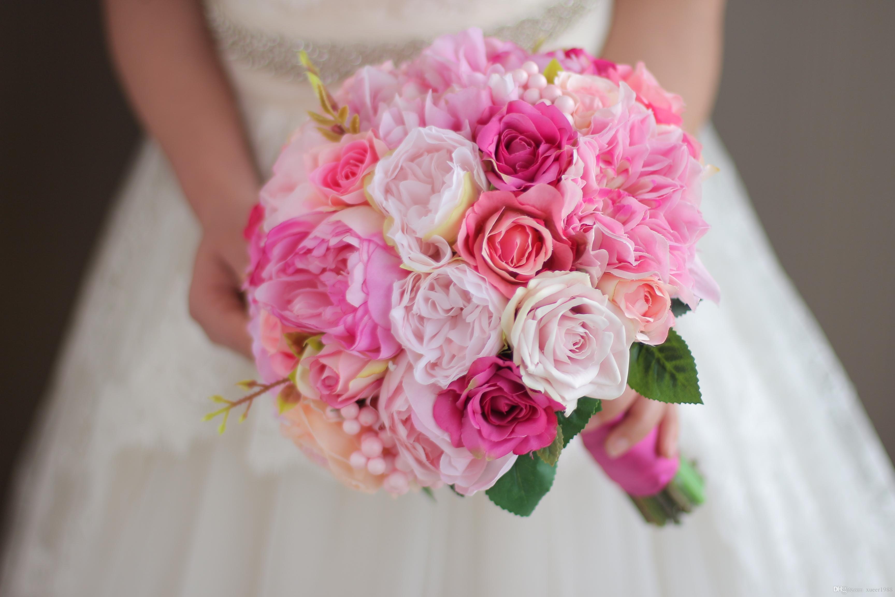 Iffo Deep Powder Pink Orange Wedding Bouquet Bride Hand Holding