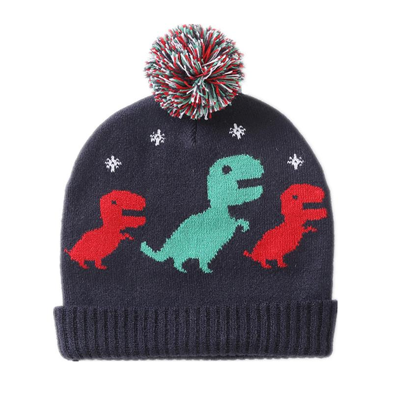 2019 Baby   Kids Boys Fall Winter Dinosaur Print Navy Blue Knitted Beanie Hat  Children Fashion Casual Cute Hats Caps From Paradise13 9789eae29f0